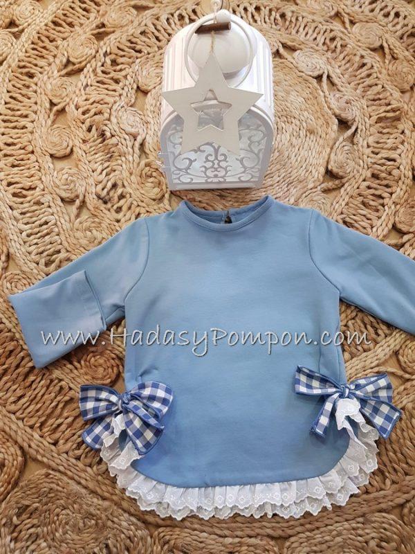 Sudadera Azul Puntilla Blanca y Lazos